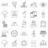 Catastrophic event icons set, outline style. Catastrophic event icons set. Outline set of 25 catastrophic event vector icons for web isolated on white background Royalty Free Stock Images