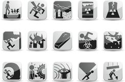 Catastrophic icons. A set of 25 icons about work safety and ambient pollution Royalty Free Stock Image
