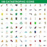 100 catastrophic icons set, cartoon style. 100 catastrophic icons set in cartoon style for any design illustration vector illustration