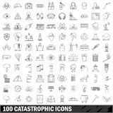 100 catastrophic icons set, outline style. 100 catastrophic icons set in outline style for any design vector illustration Royalty Free Stock Images