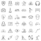 Catastrophic icons set, outline style Royalty Free Stock Image
