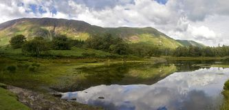 Catbells and Maiden Moor reflection in Derwent Water, Lake District, Cumbria, England