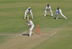 Catch Attempt by Wicket Keeper During a Cricket Match. Catch Attempt by Wicket Keeper During a  Cricket Match. Batsman and two Slip Fielders are also visible Stock Photos