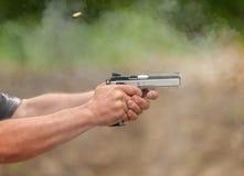 Catch a Bullet. Outdoor Shooting Range Stock Photo