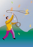 Catch chance. Man catch wealth with rope Stock Image