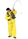 Catch of the day. Fisherman with fishing rod. Add whatever you like to the end of the line Stock Photo