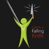 Catch A Falling Knife Metaphor Stock Photo