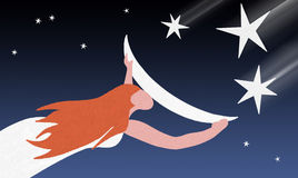 Catch a falling star. Royalty Free Stock Photos
