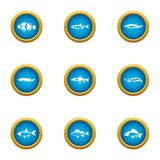 Catch fish icons set, flat style. Catch fish icons set. Flat set of 9 catch fish vector icons for web isolated on white background Royalty Free Stock Photo