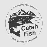 Catch fish symbol, vector Royalty Free Stock Image