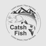 Catch fish symbol, vector Royalty Free Stock Photos