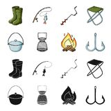 Catch, hook, mesh, caster .Fishing set collection icons in black,cartoon style vector symbol stock illustration web. Catch, hook, mesh, caster .Fishing set Royalty Free Stock Images