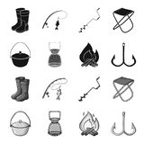 Catch, hook, mesh, caster .Fishing set collection icons in black,monochrome style vector symbol stock illustration web. Catch, hook, mesh, caster .Fishing set Stock Image