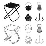 Catch, hook, mesh, caster .Fishing set collection icons in black,outline style vector symbol stock illustration web. Catch, hook, mesh, caster .Fishing set Royalty Free Stock Photo