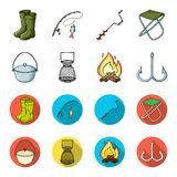 Catch, hook, mesh, caster .Fishing set collection icons in cartoon,flat style vector symbol stock illustration web. Catch, hook, mesh, caster .Fishing set Stock Images