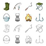 Catch, hook, mesh, caster .Fishing set collection icons in cartoon,outline style vector symbol stock illustration web. Catch, hook, mesh, caster .Fishing set Royalty Free Stock Photo
