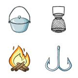 Catch, hook, mesh, caster .Fishing set collection icons in cartoon style vector symbol stock illustration web. Catch, hook, mesh, caster .Fishing set collection Stock Photos