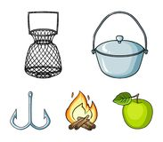 Catch, hook, mesh, caster .Fishing set collection icons in cartoon style vector symbol stock illustration web. Catch, hook, mesh, caster .Fishing set collection Royalty Free Stock Image