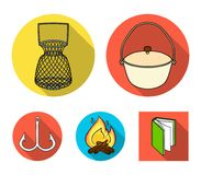 Catch, hook, mesh, caster .Fishing set collection icons in flat style vector symbol stock illustration web. Catch, hook, mesh, caster .Fishing set collection Royalty Free Stock Images
