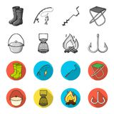Catch, hook, mesh, caster .Fishing set collection icons in monochrome,flat style vector symbol stock illustration web. Catch, hook, mesh, caster .Fishing set Stock Images