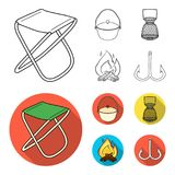 Catch, hook, mesh, caster .Fishing set collection icons in outline,flat style vector symbol stock illustration web. Catch, hook, mesh, caster .Fishing set Stock Photo