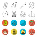 Catch, hook, mesh, caster .Fishing set collection icons in outline,flet style vector symbol stock illustration web. Catch, hook, mesh, caster .Fishing set Royalty Free Stock Images
