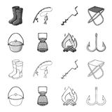 Catch, hook, mesh, caster .Fishing set collection icons in outline,monochrome style vector symbol stock illustration web. Catch, hook, mesh, caster .Fishing set Stock Photos