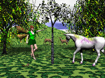 Catch The Moment. Computer generated scene of a fairy catching a butterfly while a unicorn, chipmunk and some deer watch Royalty Free Stock Photos