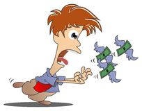 Catch money. Pursuit of money that will soon disappear Stock Photos