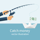 Catch money concept. Man holding a fishing rod in his hands, catching a paper boat with the money. Vector illustration flat design. Pursuit of income. Chasing Stock Photos