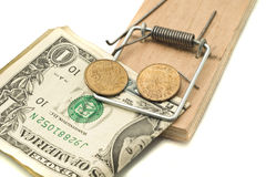 Catch it - money in the mousetrap Stock Images