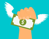 Catch profit. Hand holding money with wings. Vector illustration Royalty Free Stock Photos