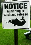 Catch and Release Fishing Sign. Catch and Release Fishing metal sign. Notice for Catch and Release Fishing Only Allowed royalty free stock image