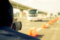 Catch speeding drivers. With a radar gun, vintage color style Stock Photography