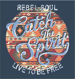 Catch the spirit with native pattern background. Vector artwork for shirt in custom colors royalty free illustration