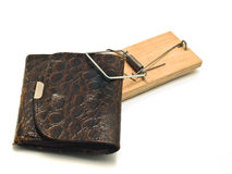 Catch it - wallet or purse in the mousetrap Royalty Free Stock Photography