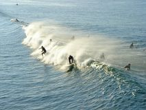 Catch a wave. Multiple surfers catching a wave Royalty Free Stock Photos