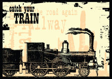 Catch your train. Vector illustration of a train on the way Royalty Free Stock Photo