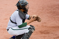catcher μπέιζ-μπώλ παιχνίδι Στοκ φωτογραφία με δικαίωμα ελεύθερης χρήσης