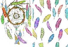 Catcher ονείρου από τους κλάδους δέντρων και το άνευ ραφής watercolor σχεδίων Στοκ Φωτογραφία