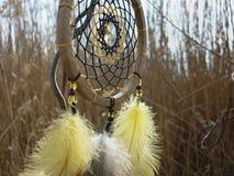 Catcher ονείρου με τα κίτρινα φτερά στο υπόβαθρο των καλάμων Ηλιοβασίλεμα Dreamcatcher, βουνά, boho-κομψό, εθνικό φυλακτό, σύμβολ στοκ φωτογραφίες