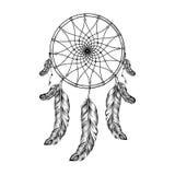 Catcher ονείρου με τα φτερά στο ύφος zentangle, υψηλό λεπτομερές ρ Στοκ Εικόνες
