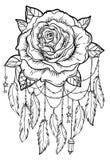 Catcher ονείρου με το ροδαλό λουλούδι, λεπτομερής διανυσματική απεικόνιση ISO απεικόνιση αποθεμάτων