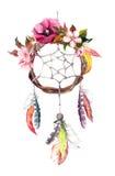 Catcher ονείρου - φτερά, φύλλα, λουλούδια Watercolor φθινοπώρου, ύφος boho απεικόνιση αποθεμάτων