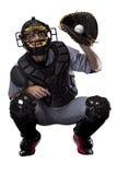 Catcher παίχτης του μπέιζμπολ Στοκ Φωτογραφία