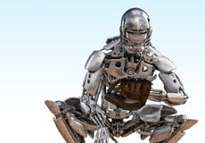 Catcher παιχτών του μπέιζμπολ ρομπότ Έννοια τεχνολογίας τεχνητής νοημοσύνης ρομπότ Cyborg τρισδιάστατη απεικόνιση απεικόνιση αποθεμάτων