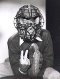 Catcher που δίνει το σήμα σφαιρών καμπυλών Στοκ εικόνα με δικαίωμα ελεύθερης χρήσης