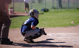 Catcher. A young boy playing catcher on a baseball team Stock Image