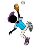 Catcher. Silhouette-man sport icon - baseball player catch a ball Stock Photos