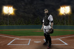 Catcher Baseball Player. On a baseball Stadium Stock Photo